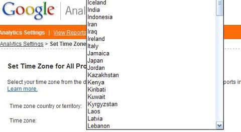 Googleanalyticstimezones